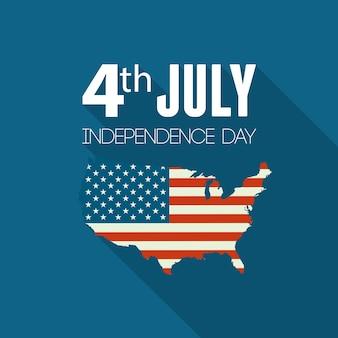 Onafhankelijkheidsdag achtergrond. vlag van de verenigde staten. vlag van de verenigde staten. amerikaans symbool. kaart van de vs.