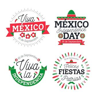 Onafhankelijkheidsdag badges van mexico ingesteld