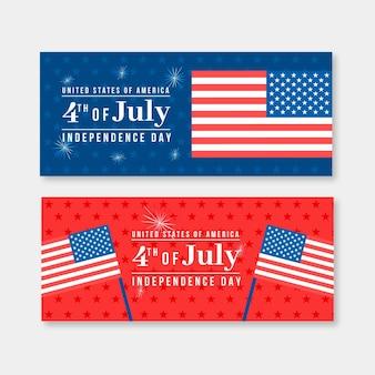 Onafhankelijkheidsdag horizontale banners ontwerpen