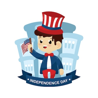 Onafhankelijkheidsdag illustratie met amerikaanse elementen