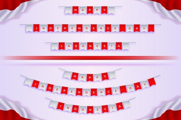Onafhankelijkheidsdag indonesië hangende vlaggen