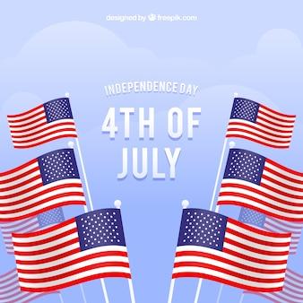 Onafhankelijkheidsdag met amerikaanse vlaggen