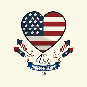 Onafhankelijkheidsdag met hartembleem en firewords