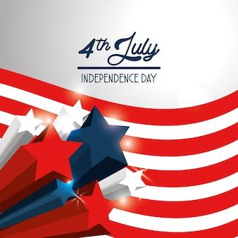 Onafhankelijkheidsdag met sterren en vlagontwerp