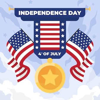 Onafhankelijkheidsdag met vlaggen en medaille