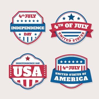 Onafhankelijkheidsdag platte ontwerp badges