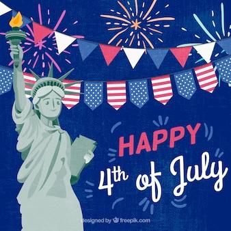 Onafhankelijkheidsdag van 4 juli achtergrond in vlakke stijl