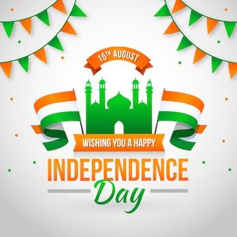 Onafhankelijkheidsdag van de achtergrond vlakke stijl van india