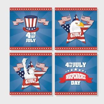 Onafhankelijkheidsdag van de verenigde staten met vlag in vastgestelde pictogrammen