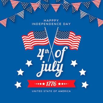 Onafhankelijkheidsdag van het platte ontwerp