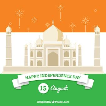 Onafhankelijkheidsdag van india, taj mahal en vlag kleuren