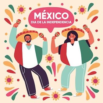 Onafhankelijkheidsdag van mexicaanse karakters dansen