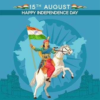 Onafhankelijkheidsdaggroeten met indiase koningin met vlag