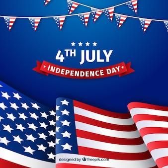 Onafhankelijkheidsdagviering met amerikaanse vlaggen