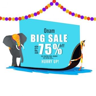 Onam verkoop achtergrond met olifant en bootrace