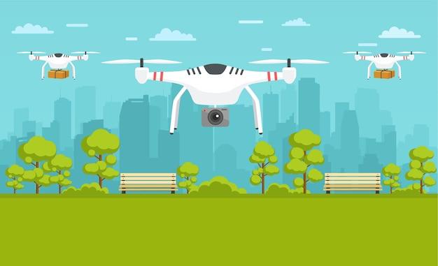 Onbemande bezorging van pakketten, fotografie in de stad. transportconcept van drones.
