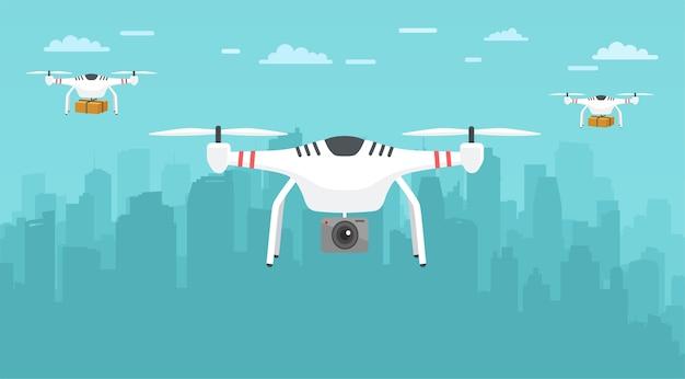 Onbemande bezorging van pakketten in de stad. transportconcept van drones.
