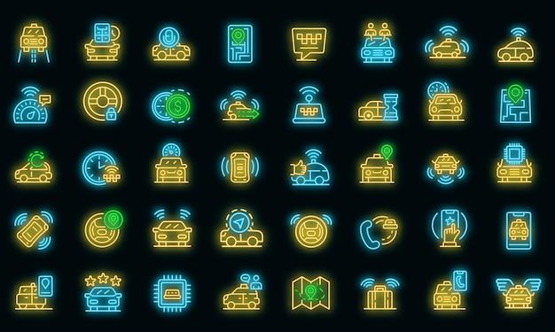 Onbemande taxi pictogrammen instellen. overzicht set van onbemande taxi vector iconen neon kleur op zwart