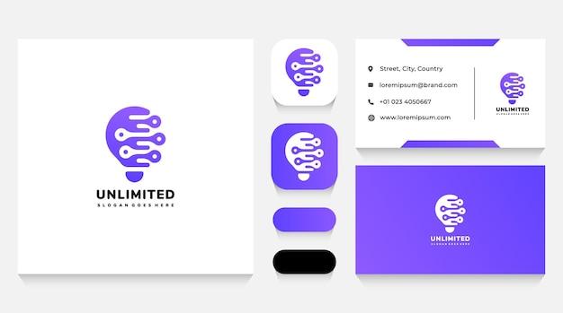 Onbeperkte technische ideeën logo-sjabloon en visitekaartje