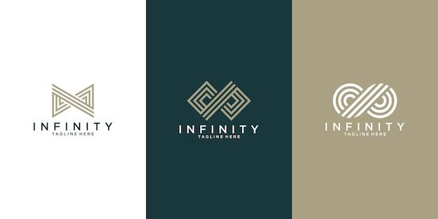Onbeperkte verzameling unieke logo-concepten in een moderne platte omtrekstijl.