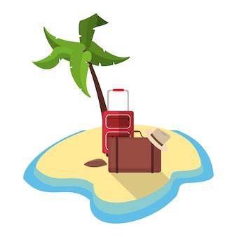 Onbewoond eiland met toerisme van de bagagehoed