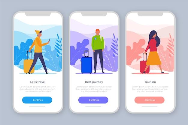 Onboarding app-concept voor reizen