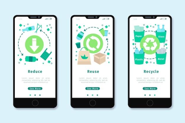 Onboarding app-ontwerp voor recyclen