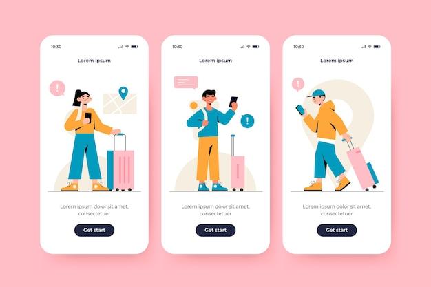 Onboarding app-scherm voor reizen