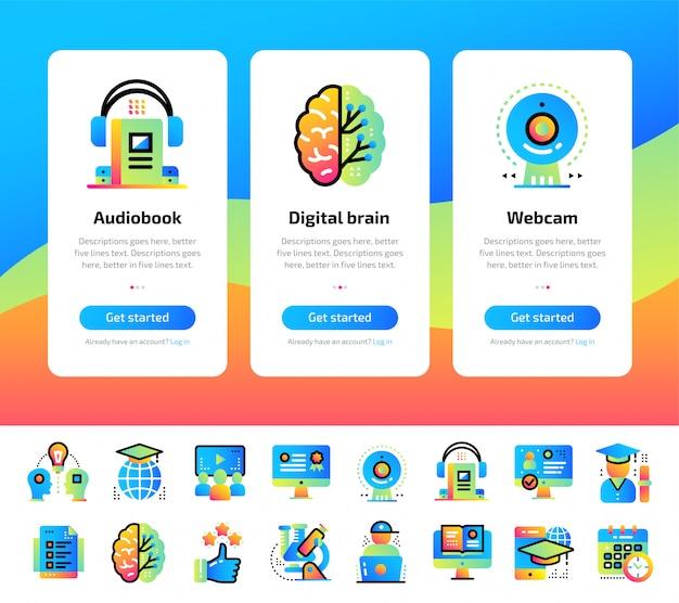 Onboarding-app-schermen met illustraties voor onderwijs en e-learning.