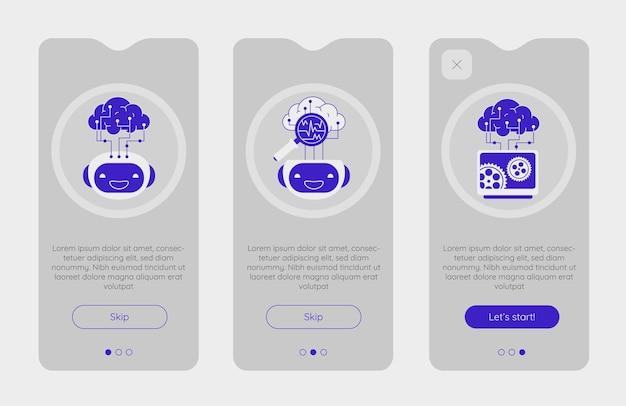 Onboarding-app-schermen met robotachtige kunstmatige-intelligentietechnologie