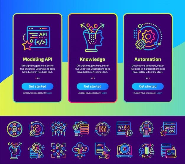 Onboarding app-schermen van data science technologie en machine learning proces illustratie set.