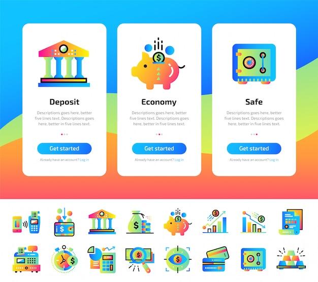 Onboarding app-schermen van financiën, bankillustraties instellen.