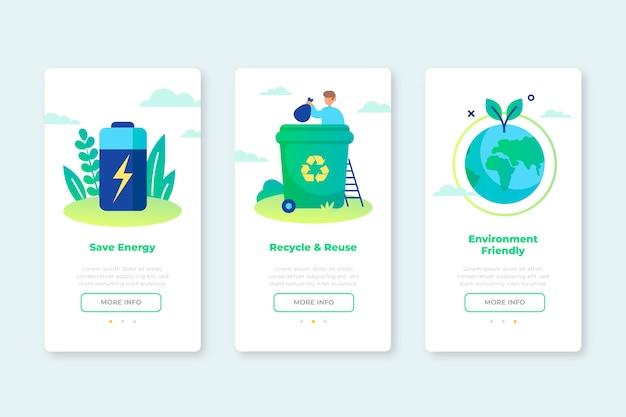 Onboarding app-schermen voor recyclingservice