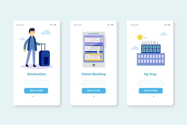 Onboarding app-schermen voor reisservice