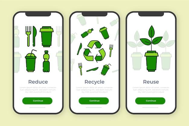 Onboarding app-thema voor recyclen