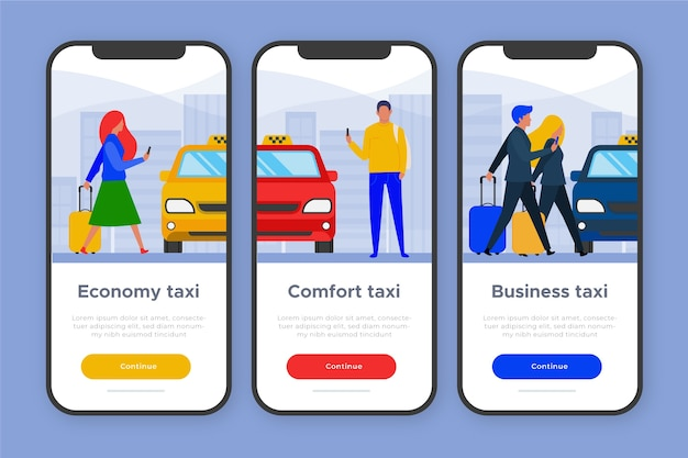 Onboarding app-thema voor taxiservice
