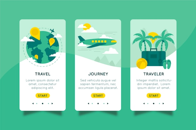 Onboarding-app voor reizen concept