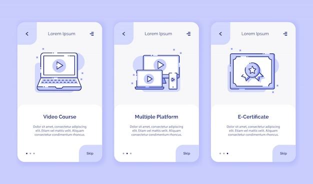 Onboarding icon online cursus videocursus meerdere platform e-certificaatcampagne voor mobiele apps startpagina bestemmingspagina met overzichtstijl in vlakke stijl.