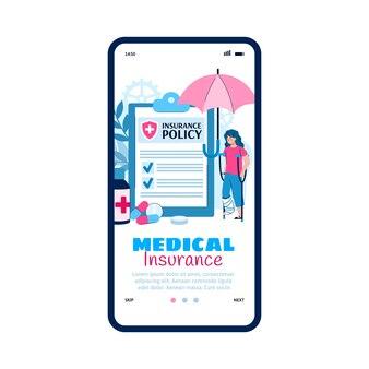Onboarding-pagina voor medische zorgverzekeringen plat