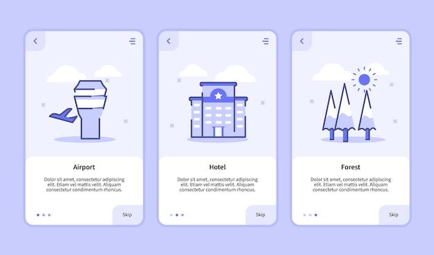 Onboarding-scherm van het luchthavenhotelbos voor de gebruikersinterface van de bannerpagina van de sjabloon van mobiele apps