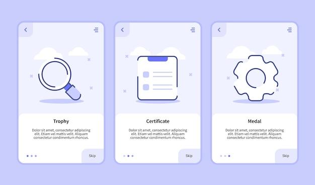 Onboarding-scherm voor gebruikersinterface voor bannerpagina van mobiele apps