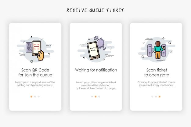 Onboarding-schermen ontwerpen in ticketconcept voor wachtrijen. hoe wachtrij te ontvangen.