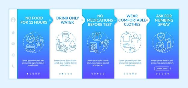 Onboarding-sjabloon met tips voor klinische bloedtesten. alleen water drinken. verdovende spray. responsieve mobiele website met pictogrammen. doorloopstapschermen voor webpagina's. rgb-kleurenconcept