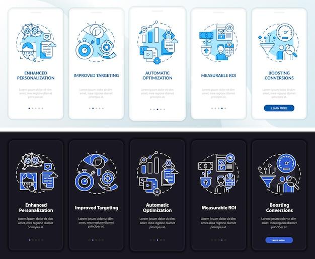 Onboarding-sjabloon voor analyse van gebruikersgedrag. responsieve mobiele website met pictogrammen
