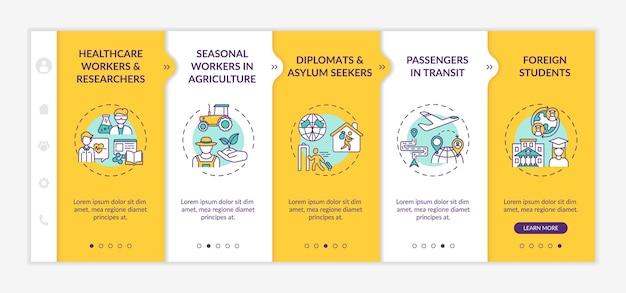 Onboarding-sjabloon voor categorieën voor vrijstelling van reisverboden. seizoensarbeiders in de landbouw. diplomaten. responsieve mobiele website met pictogrammen. doorloopstapschermen voor webpagina's. rgb-kleurenconcept
