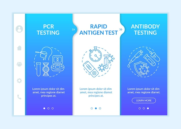 Onboarding-sjabloon voor coronavirus-tests. controle van de polymerasekettingreactie. antilichaam testen. responsieve mobiele website met pictogrammen. doorloopstapschermen voor webpagina's. rgb-kleurenconcept