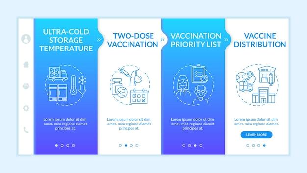 Onboarding-sjabloon voor covid-vaccinatie. twee doses vaccinatie voor een betere verbetering van de gezondheid. responsieve mobiele website met pictogrammen. doorloopstapschermen voor webpagina's. rgb-kleurenconcept