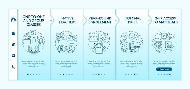 Onboarding-sjabloon voor cursussen vreemde talen. inheemse leraren. nominale prijs. 24 uur per dag toegang. responsieve mobiele website. doorloopstapschermen voor webpagina's. rgb-kleurenconcept