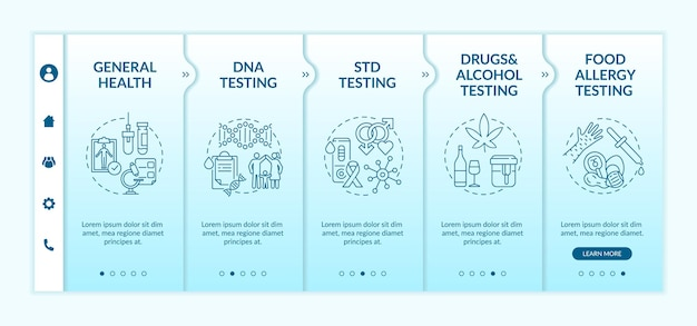 Onboarding-sjabloon voor de beste laboratoriumtestcategorieën. drugs, alcoholtesten. controle van voedselallergie. responsieve mobiele website met pictogrammen. doorloopstapschermen voor webpagina's. rgb-kleurenconcept