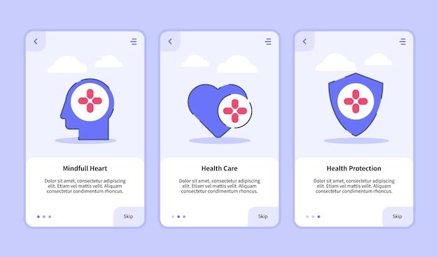 Onboarding-sjabloon voor het ontwerp van mobiele apps ui met mindful health
